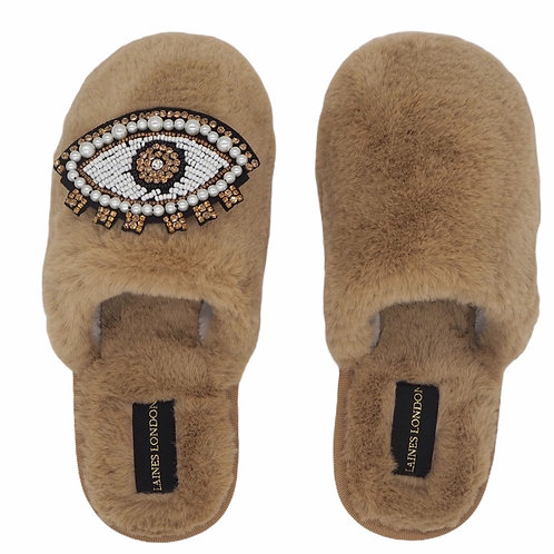 Closed Toe Caramel Fluffy Slippers with Pearl and Crystal Brown Eye