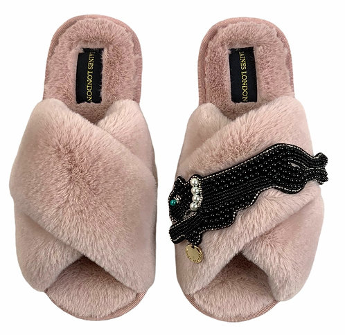 Classic Laines Slippers With Jet Panther Brooch