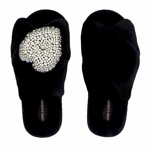Black Fluffy Slippers with Pearl & Diamond Heart