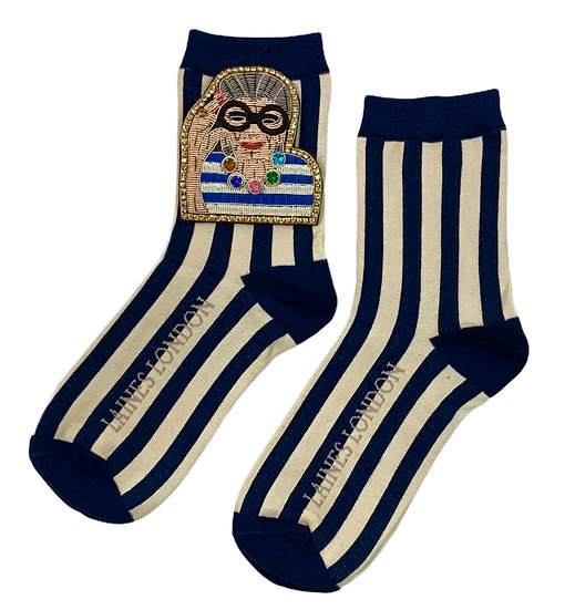 Stripe Cotton Socks With Deluxe Artisan Fashion Icon Brooch