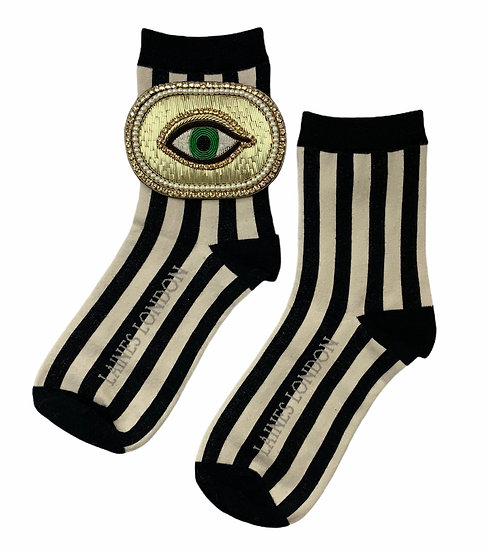 Black & Cream Red Stripe Cotton Socks With Deluxe Golden Eye Brooch