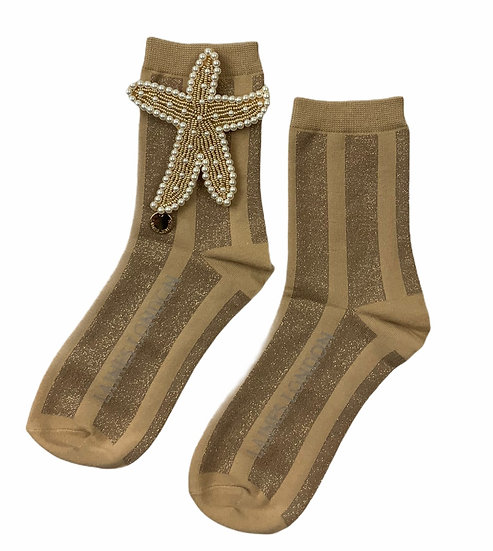 Gold Shimmer & Beige Stripe Socks With Artisan Pearl & Gold Starfish Brooch