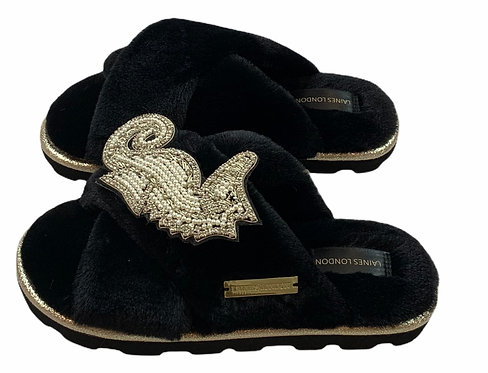 Ultralight Chic Slippers / Sliders with Deluxe Silver Seahorse Brooch