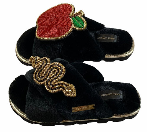 Ultralight Chic Slippers / Sliders with Double Deluxe Temptation Brooches