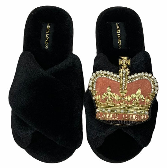 Classic Laines Rouge Pink Slippers with Deluxe Crown Brooch