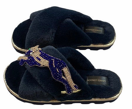 Ultralight Chic Slippers / Sliders With Artisan Sapphire Panther Brooch