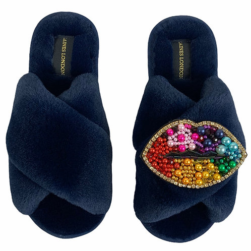 Classic Laines Slippers with Deluxe Rainbow Lips Brooch