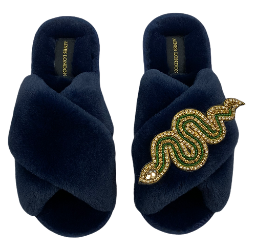 Classic Laines Slippers Gold Crystal & Green Artisan Snake Brooch