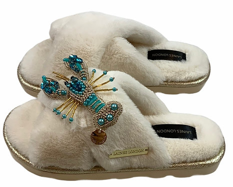 Ultralight Chic Slippers / Sliders With Artisan Blue & Gold Lobster