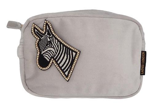 Grey Velvet Bag With LUXE Zebra Brooch