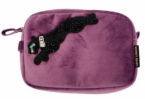 Aubergine Velvet Bag With Black Panther Brooch