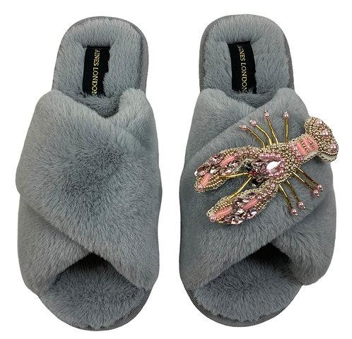 Grey Fluffy Slippers Pearl Pink Lobster Brooch