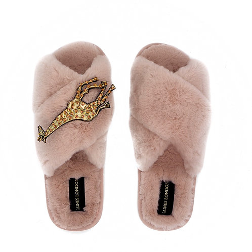 Pink Fluffy Slippers with Laines Luxe Giraffe Brooch