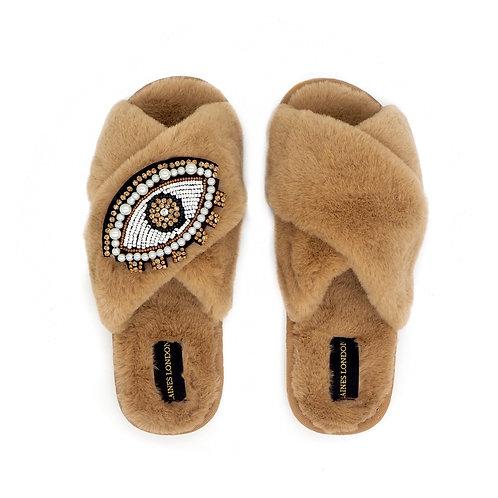Caramel Fluffy Slippers Crystal & Pearl Eye Brooch