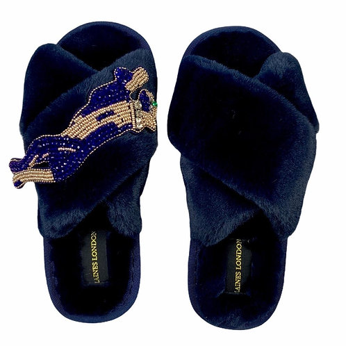 Navy Fluffy Slippers with Sapphire Panther Brooch