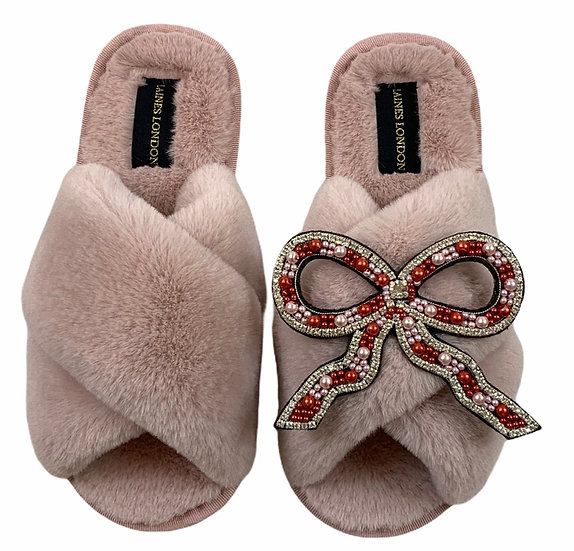 Classic Laines Slippers with Deluxe Bow Brooch