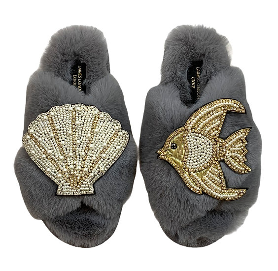 Laines Cloud Grey Slippers / Double Artisan Pearl & Gold Seashell & Angel Fish