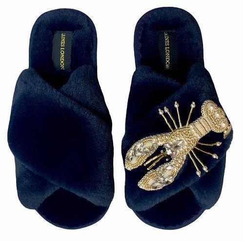 Navy Fluffy Slippers Pearl & Gold Lobster Brooch