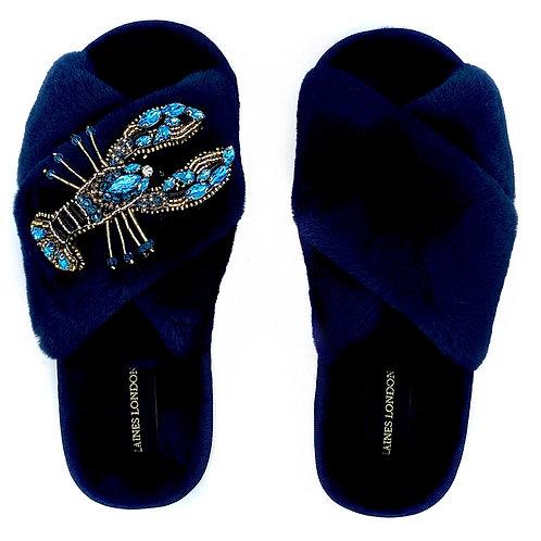 Navy Fluffy Slippers Crystal Blue Lobster Brooch