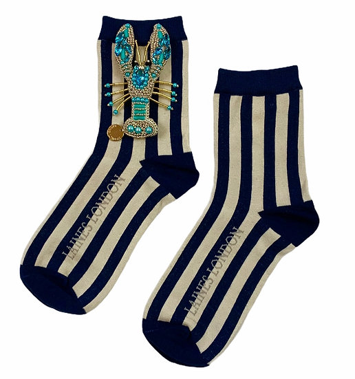 Navy & Cream Stripe Socks With Artisan Pearl & Blue Lobster Brooch