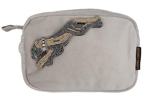 Grey Velvet Bag With Platinum Panther Brooch