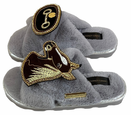Ultralight Chic Slippers / Sliders with Deluxe Horse-Bit & Chestnut Horse Brooch