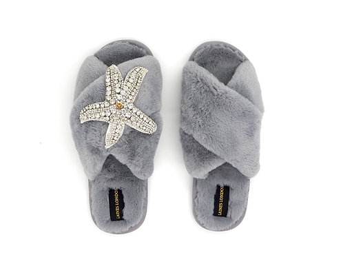 Grey Fluffy Slippers Silver Starfish Brooch