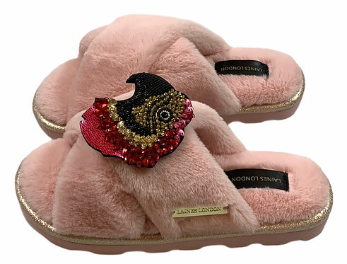 Ultralight Chic Slippers / Sliders Premium Deluxe Crystal Macaw Brooches