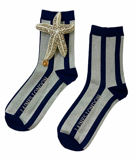 Navy & Silver Shimmer Stripe Socks With Artisan Silver Silver Starfish Brooch