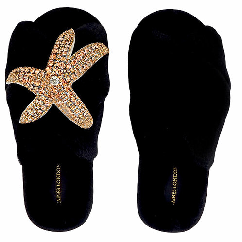 Black Fluffy Slippers Rose Gold Starfish Brooch