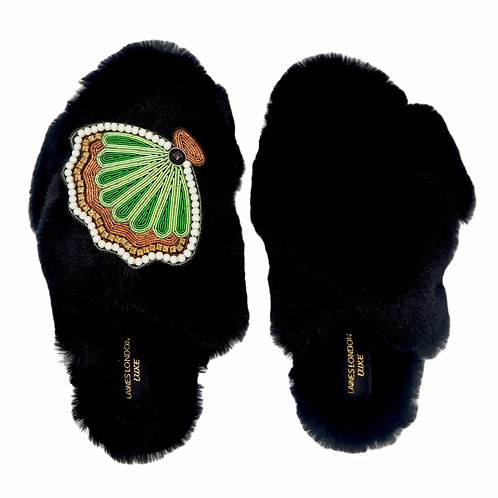 Laines Luxe Fluffy Black Slippers With Deluxe Pearl Shell Brooch