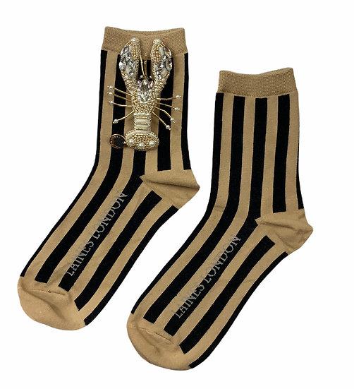 Beige & Black Stripe Cotton Socks With Artisan Pearl & Gold Lobster Brooch