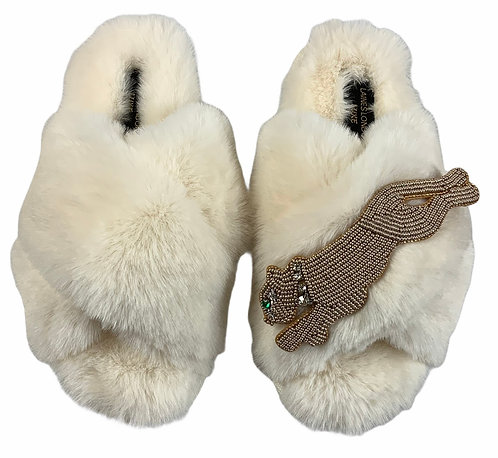 Laines Cloud Cream Slippers with Artisan Golden Panther Brooch