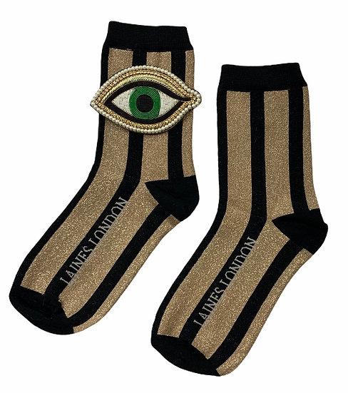 Black & Gold Shimmer Stripe Socks With Artisan Green Eye Brooch