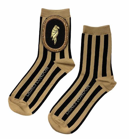 Black & Beige Stripe Cotton Socks With Deluxe Black Parrot Brooch