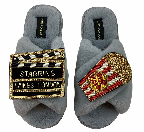Classic Laines Slippers With Double Deluxe Movie night Brooches