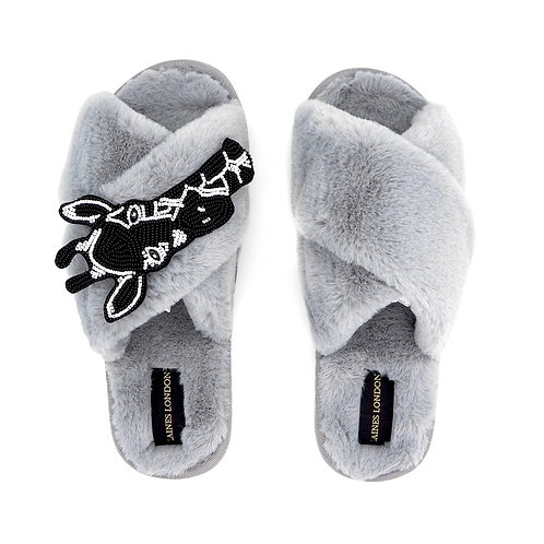 Grey Fluffy Slippers with Monochrome Giraffe Brooch