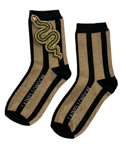 Black & Gold Shimmer Stripe Cotton Socks With Artisan Green Snake Brooch