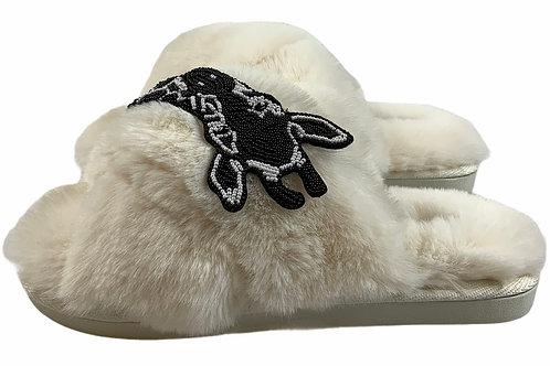 Laines Cloud Cream Slippers with Artisan Monochrome Giraffe Brooch