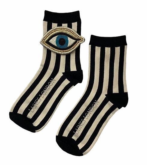 Black & Cream Stripe Cotton Socks With Artisan Blue Eye Brooch
