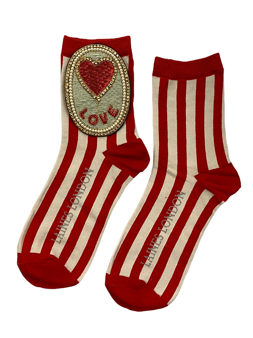 Red & Cream Stripe Cotton Socks With Bespoke Love Balloon