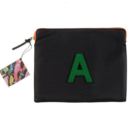 Personalised Medium Classic Leather Clutch Bag - Black