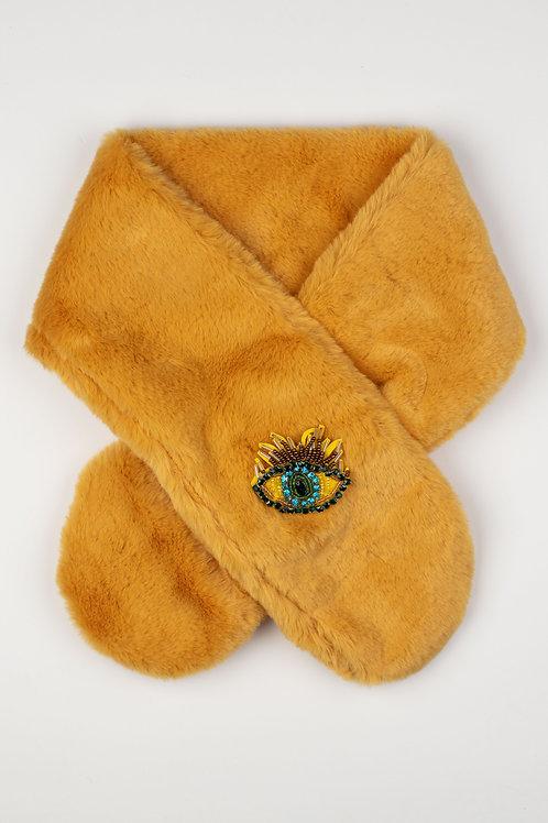 Faux Fur Collar Scarf in Mustard