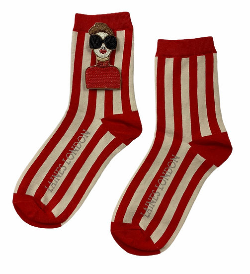 Red & Cream Stripe Cotton Socks With Premium Deluxe Glam Gal Brooch