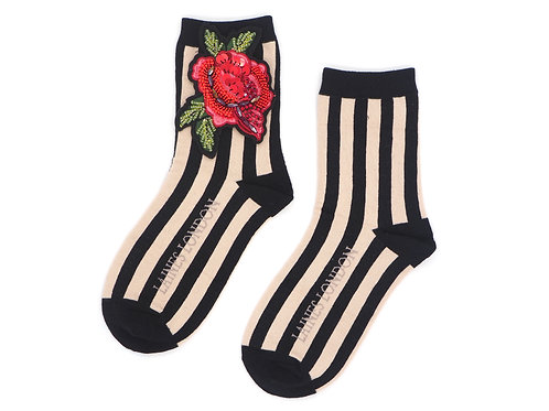 Black and Cream Stripe Cotton Socks With Rose Brooch