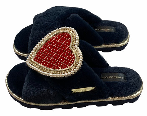 Ultralight Chic  Slippers / Sliders with Deluxe Quilted Red Heart Brooch
