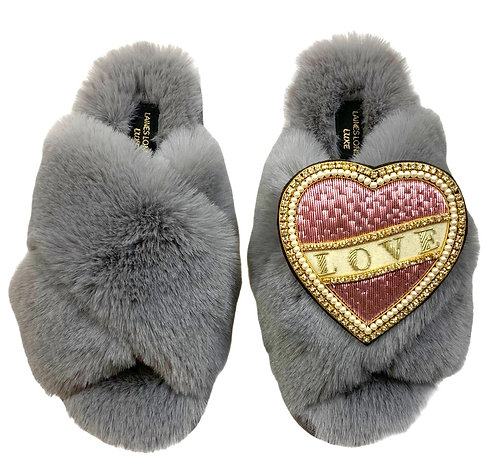 Laines Luxe Fluffy Grey Slippers With Pink & Cream Love Brooch