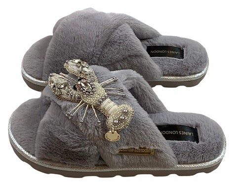 Ultralight Chic Slippers / Sliders With Artisan Silver Lobster Brooch