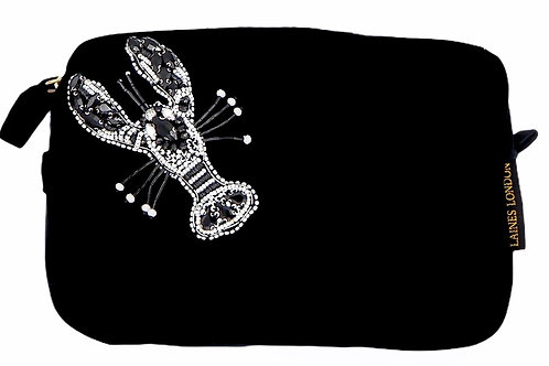 Laines London Black Velvet Bag With Monochrome Lobster Brooch