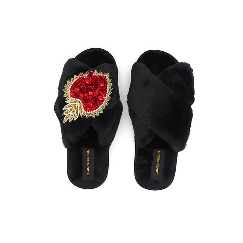 Black Fluffy Slippers With Statement Heart Brooch